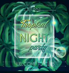 party summer tropical with green palm leaves vector image