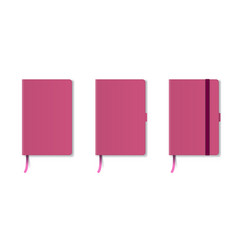 pink realistic hard cover notebook with red vector image