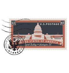 Postage stamp with image us capitol vector