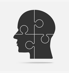Puzzle piece silhouette head - jigsaw vector