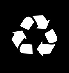 recycle icon isolated on black background vector image