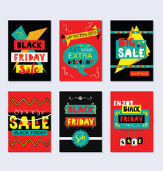 Red and black funky black friday sale cards set vector
