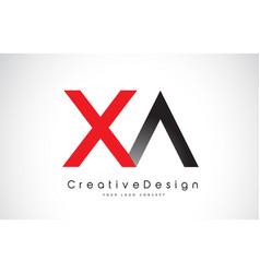Red and black xa x a letter logo design creative vector