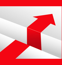 red arrow and obstacle bypass vector image