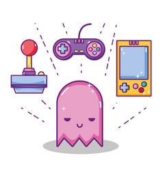 Retro videogame cartoons concept vector