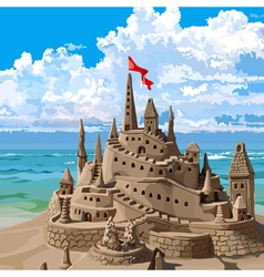 sand castle on the beach vector image