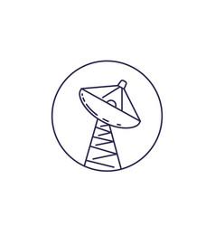 satellite dish big antenna line icon vector image