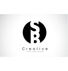 Sb letter logo design inside a black circle vector