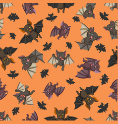 seamless pattern with bat in the different posing vector image