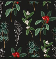 seamless pattern with botanical pines vector image