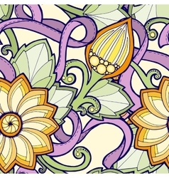 Seamless pattern with stylized flowers Ornate vector image