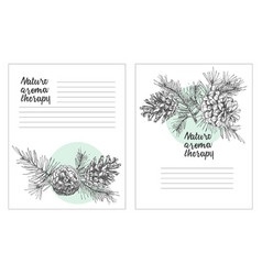 set card template with pattern realistic botanical vector image