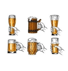 Set icons beer glasses vector