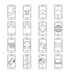 set mobile phone line icon design editable vector image