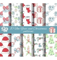 Set of 10 seamless Christmas and New year patterns vector