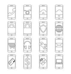 Set of mobile phone line icon design editable vector