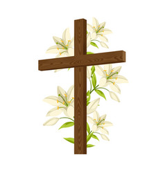 Silhouette wooden cross with lilies happy vector