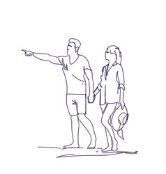 sketch couple walking holding hands doodle man and vector image
