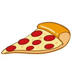 Slice of pizza on white background vector