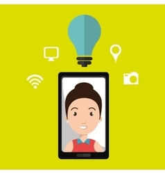 Smartphone and woman isolated icon design vector image