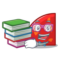 Student with book quadrant mascot cartoon style vector