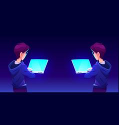 teenage boy using computer app back view vector image