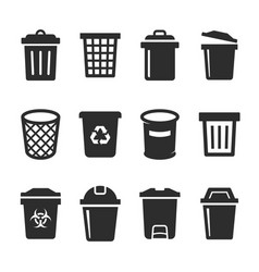 trash bin icon set vector image