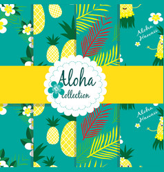 Tropical flowers palm leaves pineapple on vector