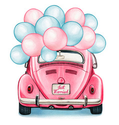 watercolor pink shiny vintage car with balloons vector image