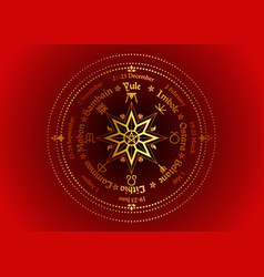 Wheel year gold compass sacred geometry vector