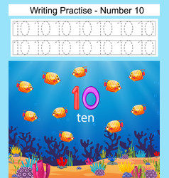 Writing practices number 10 with fish vector