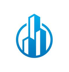circle skyscraper building logo vector image