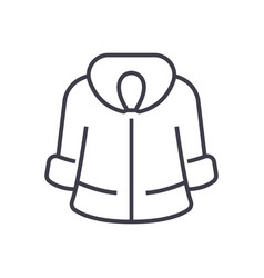 fur coat line icon sign on vector image