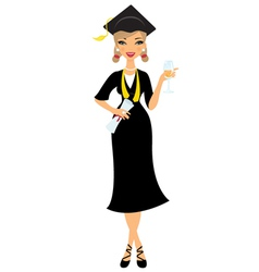 Graduate girl vector image vector image