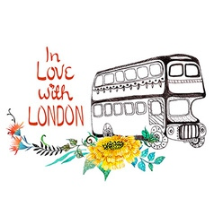 London bus with watercolor flowers vector image