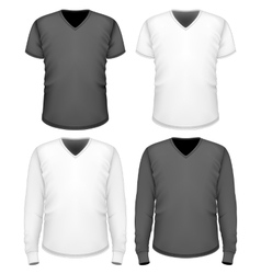 Men t-shirt v-neck short and long sleeve vector