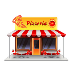 pizzeria building isolated on white vector image vector image