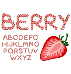 strawberry alphabet vector image vector image
