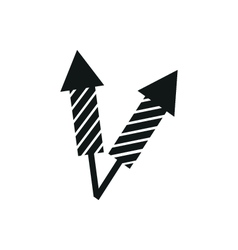 simple black icon of fireworks rocket on white vector image