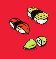 sushi restaurant icons set vector image