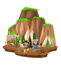 Two native indians at the camp vector
