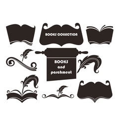 books silhouettes collection vector image vector image