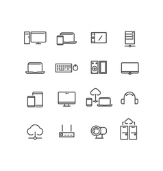 Computers and devices line icons set vector image vector image