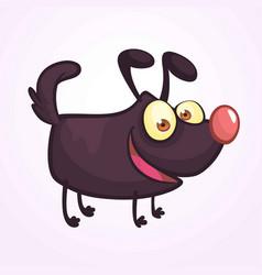 cute cartoonblack dog vector image vector image