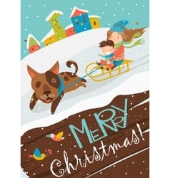 Funny dog pulling sledge with children vector image vector image