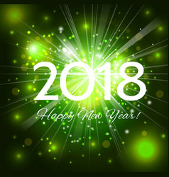 green happy new year 2018 card vector image vector image