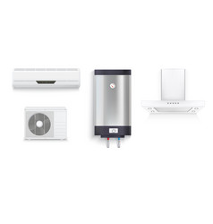 set icons of household appliances on a white vector image vector image
