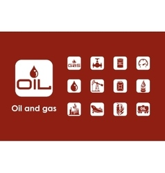 Set of oil and gas simple icons vector image