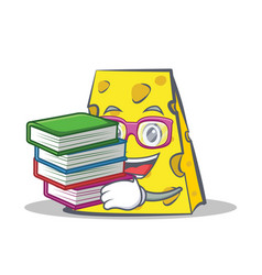 Student cheese character cartoon style with book vector