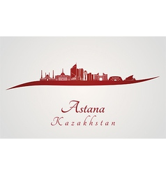 Astana skyline in red vector image vector image